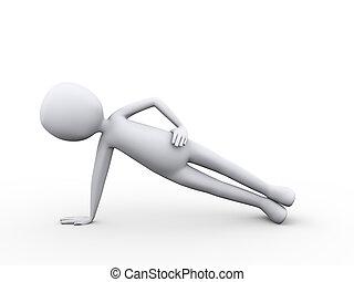 3D-Mann in Yoga-Seitenplank Pose Position Übung