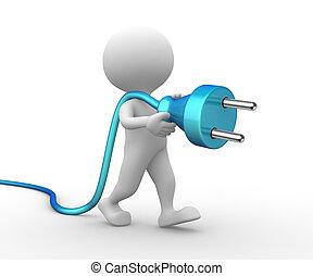 3D Mann mit einem elektrischen Stecker