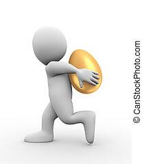 3D Mann mit goldenem Ei auf dem Rücken