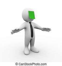 3D Mann mit grünem Klebeband