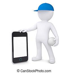 3D Mann mit Volleyball-Ball mit Smartphone