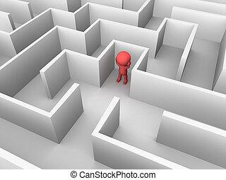 3D-Mann verloren in einem Labyrinth