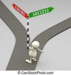 3D Menschen bedeuten Erfolg und Misserfolg