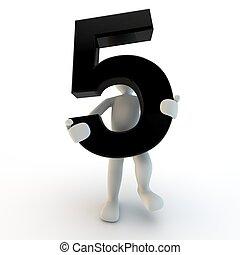 3D menschliche Figur mit schwarzer Nummer 5, kleinen Leuten.