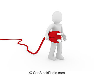 3d menschlicher Stecker rot