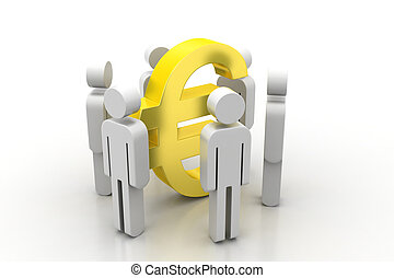 3d people around Euro sign.