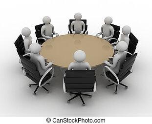 3d people - Sitzung hinter einem runden Tisch. 3D Bild. Isoliert