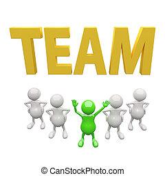 3D-People-Team mit Anführer und Wortteam