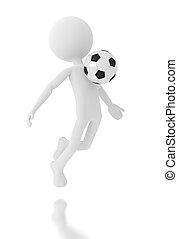3d Person Fußballspieler mit einem Ball.
