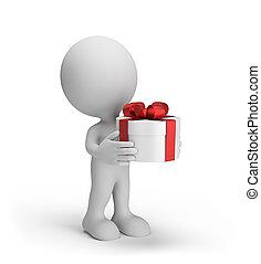 3d Person gibt ein Geschenk