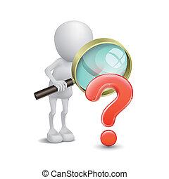 3d Person mit Vergrößerung der Glasfrage markieren rote Suche.