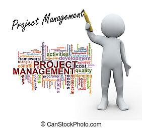 3D-Person und Projektmanagement-Wortschilder