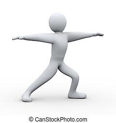 3d person yoga virabhadrasana
