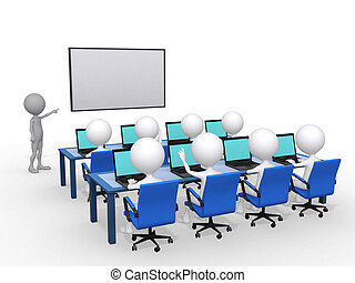 3d Personen mit einer Handspitze in der Hand an Bord, Bildungs- und Lernkonzept, 3d illustrieren