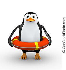 3D Pinguin im Rettungsring.