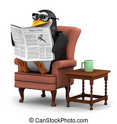 3d Pinguin liest die Nachrichten in seinem Lieblingssessel.