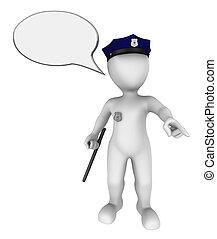 3d Police Officer mit leerer Speachblase über seinem Kopf gibt den Befehl. 3d machte Illustrationen mit kleinen Menschen.