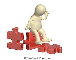 3D-Puppe und Teile des Puzzles