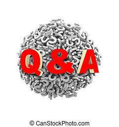 3d q & ein Fragezeichen Kugelkugel.
