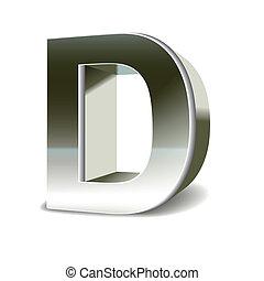 3D Silberstahl Buchstabe D.