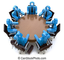 3d Treffen Geschäftsleute - Sitzung hinter einem runden Tisch.