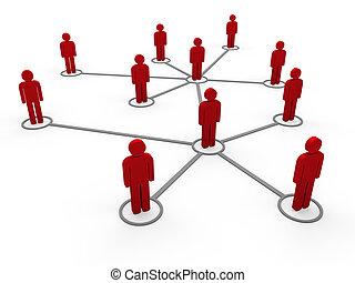 3d, vernetzung, rotes , mannschaft