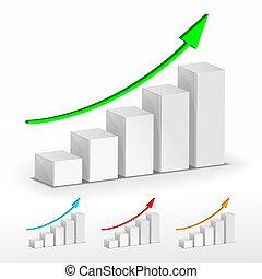 3D-Wachs-Grafik. Vector Business Konzept.