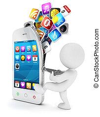 3d Weiße öffnen ein Smartphone