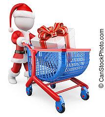 3D-Weiße. Der Weihnachtsmann kauft Weihnachtsgeschenke