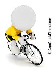 3d Weiße fahren Radfahrer