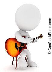 3D Weiße Gitarristen