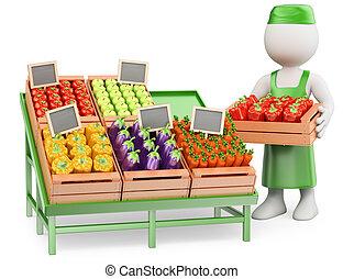 3D-Weiße. Greengrocer