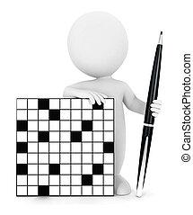 3d Weiße Kreuzworträtsel.