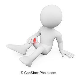 3D-Weiße. Mann mit Knieschmerzen