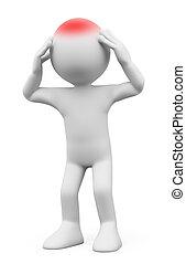 3D-Weiße. Mann mit Kopfschmerzen