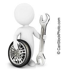 3d Weiße Mechaniker.