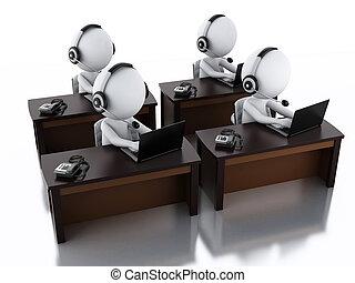 3d Weiße mit Kopfhörern mit Microphone und Laptop.
