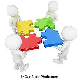 3D Weiße. Team mit Puzzle