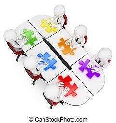 3D Weiße. Teamwork sucht die beste Lösung
