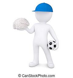 3d weißer Mann mit Fußball und Gehirn