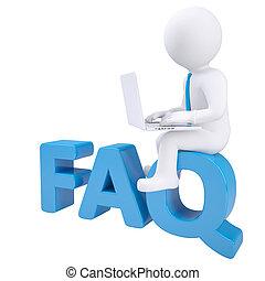 3d weißer Mann mit Laptop, der auf dem Wort FAQ sitzt