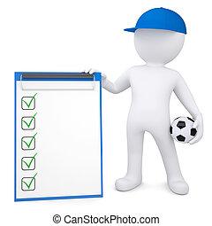 3D Weißer mit Fußball und Checkliste