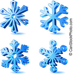 3d, weihnachten, vektor, schneeflocke, heiligenbilder