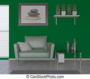 3D zeitgenössischer Wohnraum und moderne Möbel.