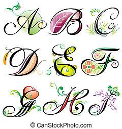 a-i, alphabete, elemente