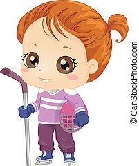 abbildung, ausrüstung, eis, m�dchen, kind, hockey