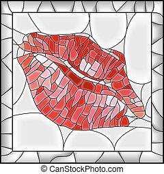 abbildung, imprint., lippe