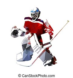 abbildung, polygonal, vektor, hockey, torwart, eis