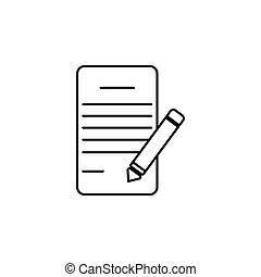 abbildung, schreiben kugelschreiber, vektor, polster, linie, icon.