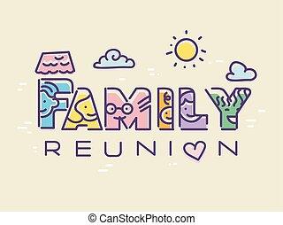 abbildung, wiedervereinigung, familie
